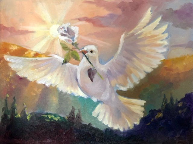 Dove With Rose Painting